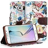 Samsung Galaxy S6 Edge Case, Fosmon CADDY FLORA Leather Wallet Flip Cover Case for Samsung Galaxy S6 Edge (White)