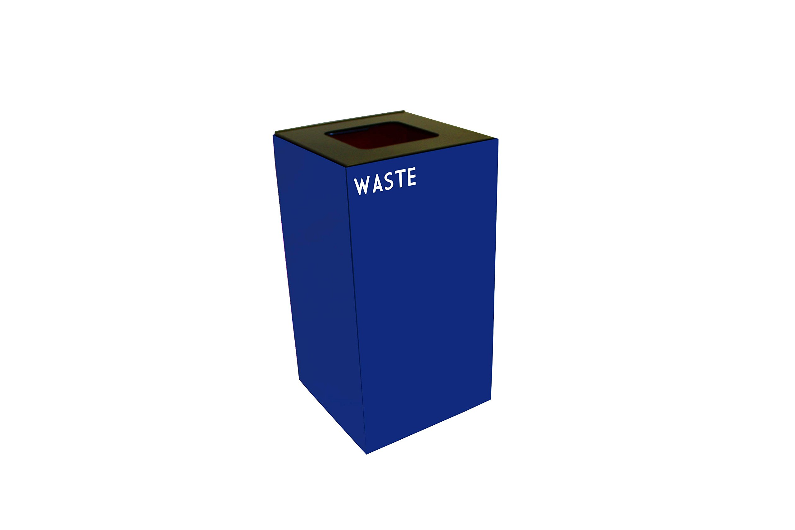 Witt Industries 28GC03-BL GeoCube Recycling Receptacle with Waste Opening, Steel, 28 gal, Blue