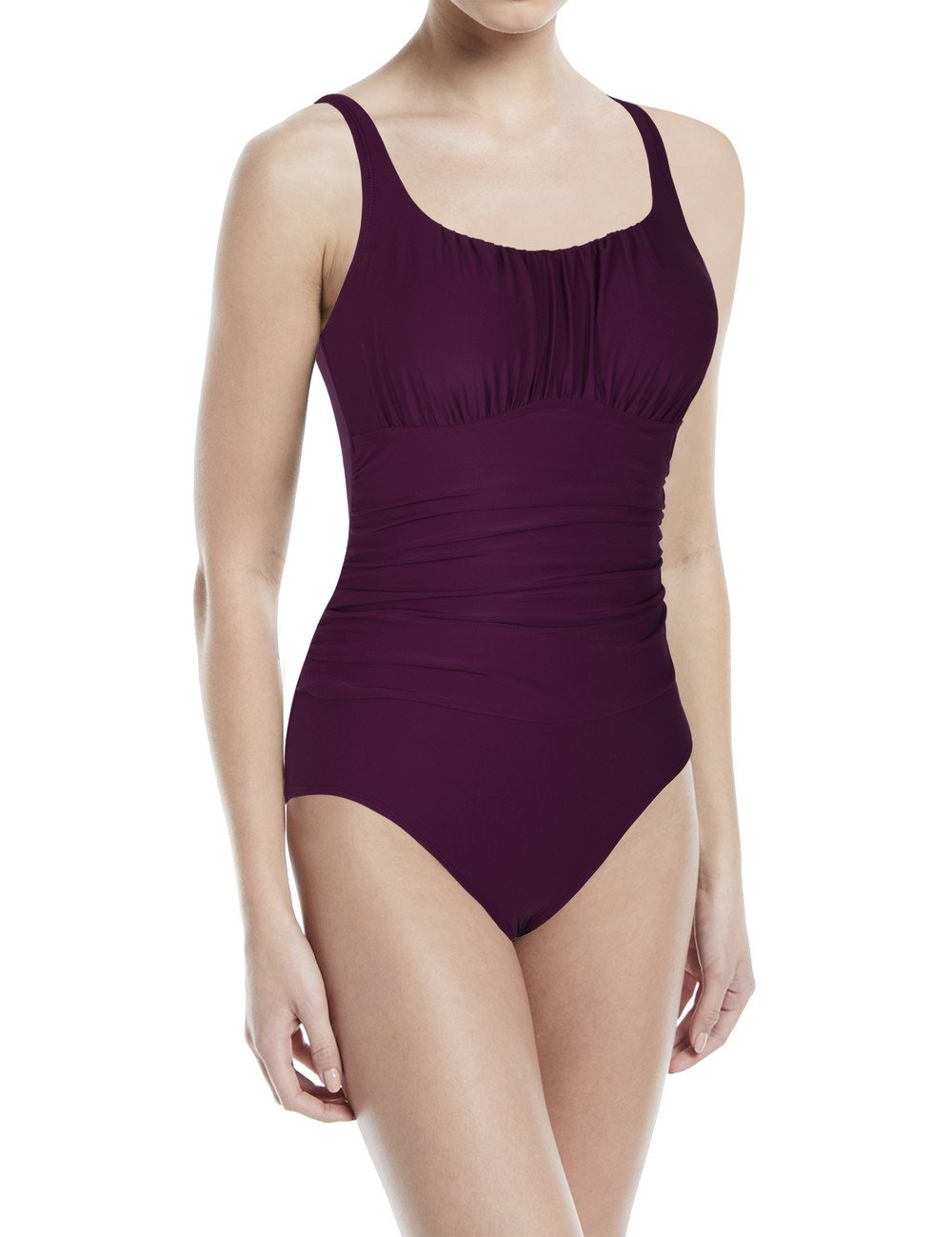 Hilor Women's Shirred Bust One Piece Swimwear Tank Swimsuits Wide Straps Bathing Suits Monokinis Burgundy 10