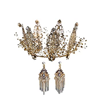 H.L Corona Nupcial Tocado Retro Negro Cristal Reina Corona Vestido De Novia Cena Pluma Sombreros Accesorios