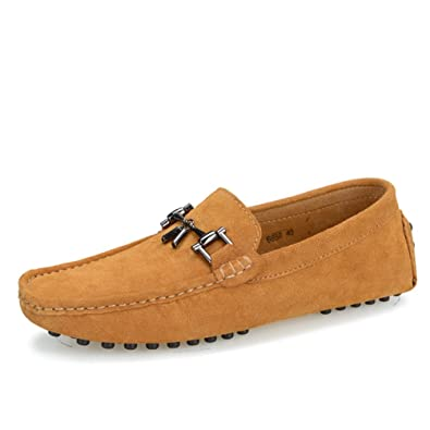 Sunrolan Santa De Lo Men's Designer Tassel Driver Suede Leather Driving Slip On Loafer Shoes by Sunrolan