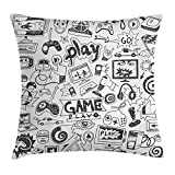 Ambesonne Video Games Throw Pillow Cushion Cover, Monochrome Sketch Style Gaming Design Racing Monitor Device Gadget Teen 90's, Decorative Square Accent Pillow Case, 20 X 20 Inches, Black White