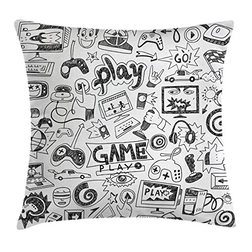 Video Games Throw Pillow Cushion Cover by Ambesonne, Monochrome Sketch Style Gaming Design Racing Monitor Device Gadget Teen 90's , Decorative Square Accent Pillow Case, 18 X18 Inches, Black (Party Art Throw Pillow)