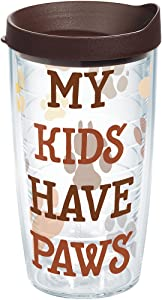 Tervis My Kids Have Paws Tumbler with Wrap and Brown Lid 16oz, Clear