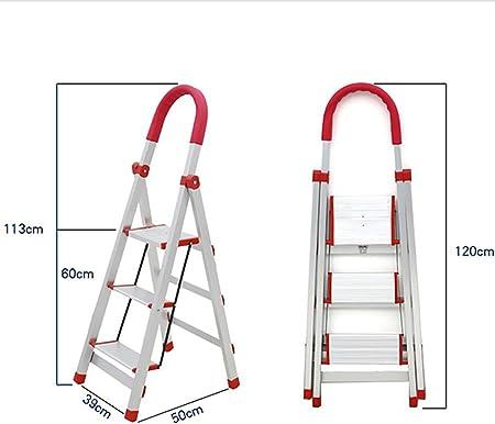 Qiangmei Escalera doméstica Escalera Plegable de Acero Inoxidable Antideslizante de 3 peldaños Escalera de Madera Multiusos - Escalera de Escalera Plegable Multiusos (Tamaño : 39 * 50 * 113cm): Amazon.es: Hogar
