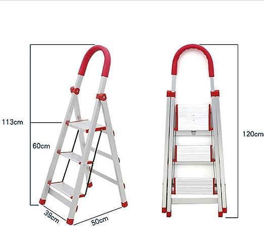 Qiangmei Escalera doméstica Escalera Plegable de Acero ...