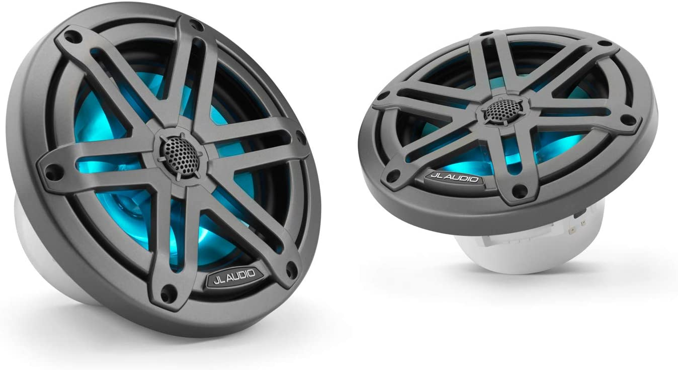 Marine Coaxial Speakers Gunmetal Sport Grilles with RGB LED Lighting JL Audio M3-650X-S-Gm-i: 6.5-inch 165 mm