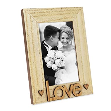 """Isaac Jacobs Natural Wood Sentiments """"Love"""" Picture Frame, 4x6 inch, Photo Gift for Loved Ones, Family, Display on Tabletop, Desk (Natural)"""