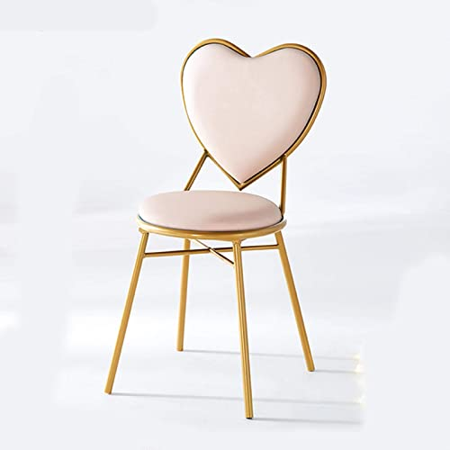 Love Shape Dressing Table Makeup Chair Gold Restaurant Iron Art Dining Chair Multipurpose Lounge Chair Armchair Girl Bedroom Decoration Reading Chair Furniture Light Pink Leather