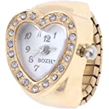 Copper Tone Heart Shape Housing Elastic Band Finger Ring Watch for Women