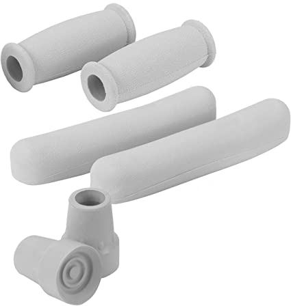 1 Pair Rubber Crutch Arm Pads Covers Hand Grips Replacement Accessories Gray