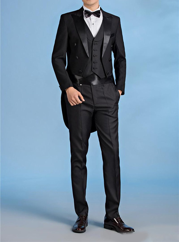 JYDress Mens Tail Tuxedo 3 Pieces Black Groom Tuxedos Wedding Suit ...