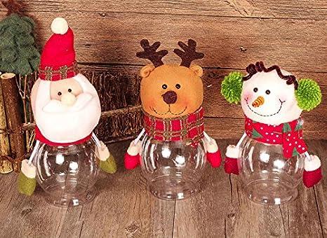 Navidad Candy de tarros para conservas, fashionclubs 3 piezas/set navidad botella de plástico Candy caja de almacenamiento tarro bote Canes, Navidad azúcar ...