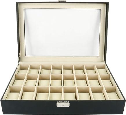 FreeTec Cajas para relojes estuche de relojes 24 compartimentos ...