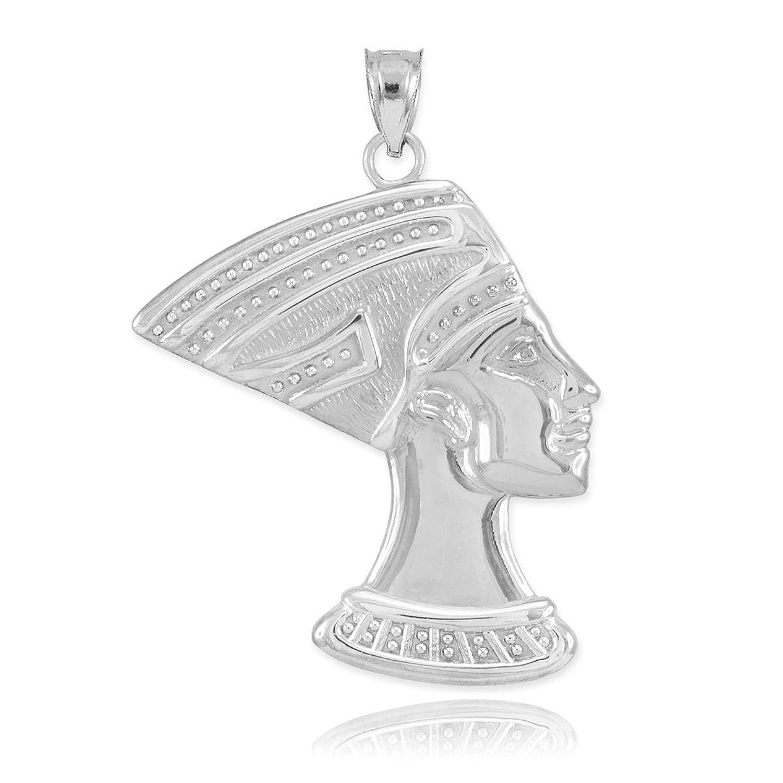 Fine 14k white gold egyptian queen nefertiti necklace pendant fine 14k white gold egyptian queen nefertiti necklace pendant amazon jewelry mozeypictures Gallery
