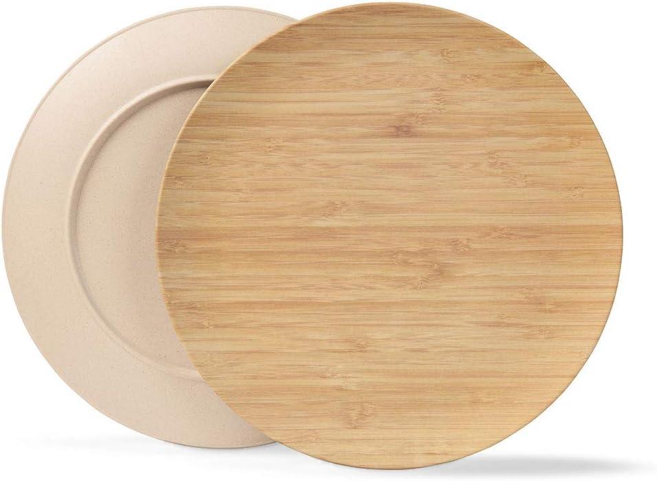 BIOZOYG Platos sostenible Platos Conjunto I Platos de Camping Platos de Madera Platos de Cena vajilla de bambú I 4 Piezas Platos de bambú Plano ...