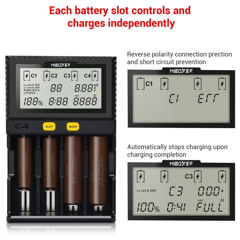 18650 Battery Charger,MiBOXER Smart Universal 4-Bay Automatic LCD Display,Fast Charging Rechargeable Li-ion LiFePO4 Ni-MH Ni-Cd AA AAA C 26650 18350 17670 18700 21700 20700 RCR123,Fire Protection