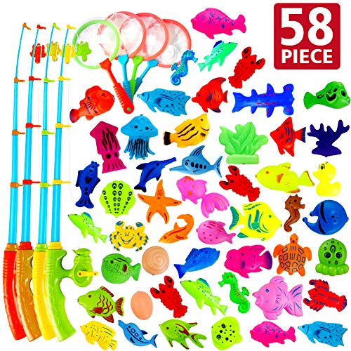 AUUGUU Magnetic Fishing Game Party Favors 58 Pcs - 4 Poles & Reel That Cranks and 4 Nets 50 Floating Fishes for Kids Water Table Bath Tub Pool Floor, Best Birthday Gift for Toddler 3 4 5 Year Old (Best Childrens Pc Games)