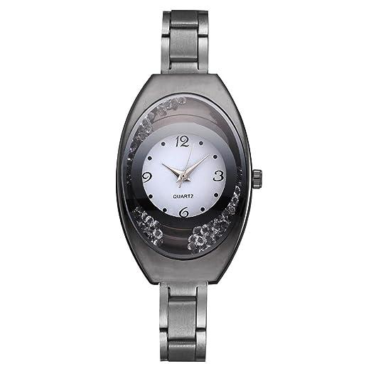 Relojes Mujer,❤LMMVP❤Brazalete de metal pulsera de cuarzo oro pulsera de cristal