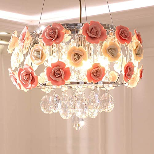 Healer 19.7 inch Crystal Chandelier Ceiling Light Semi Flush Mount Fixtures with 5 E12 Base, Modern Romantic Ceramics Rose Decoration Hanging Lighting Fix for Dining Living Room Bedroom