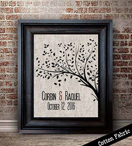 Personalized Cotton Anniversary Gift For Her | 2nd Anniversary Gift For Wife | 2 Year Anniversary Gifts for Women | Cotton Fabric Print | Tree Print (Best 2 Year Anniversary Gifts)