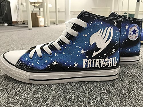- Fairy Tail Hand Painted Shoes Anime Shoes Black Hightop for Men Women Canvas Shoes Unique Gifts