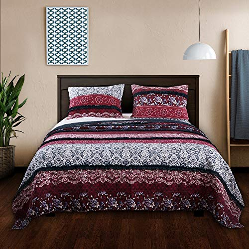 Barefoot Bungalow Monroe Americana Ruffled Quilt Set 3 Piece Queen
