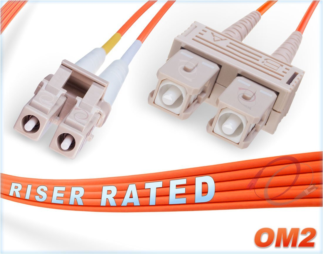 FiberCablesDirect | 5M OM2 LC SC Fiber Patch Cable | Duplex 50/125 LC to SC Multimode Jumper 5 Meter (16.40ft) | Length Options: 0.5M-300M | Alt: ofnr lc-sc mmf optic patch-cord sc/lc zip-cord dx