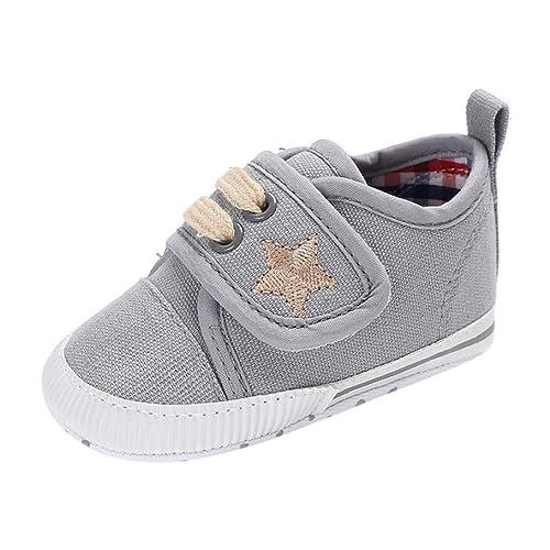Fossen Zapatos de Bebe Recién Nacidos Niña Niño Primeros Pasos Lona de Cuna Zapatos Antideslizantes de Suela Blanda