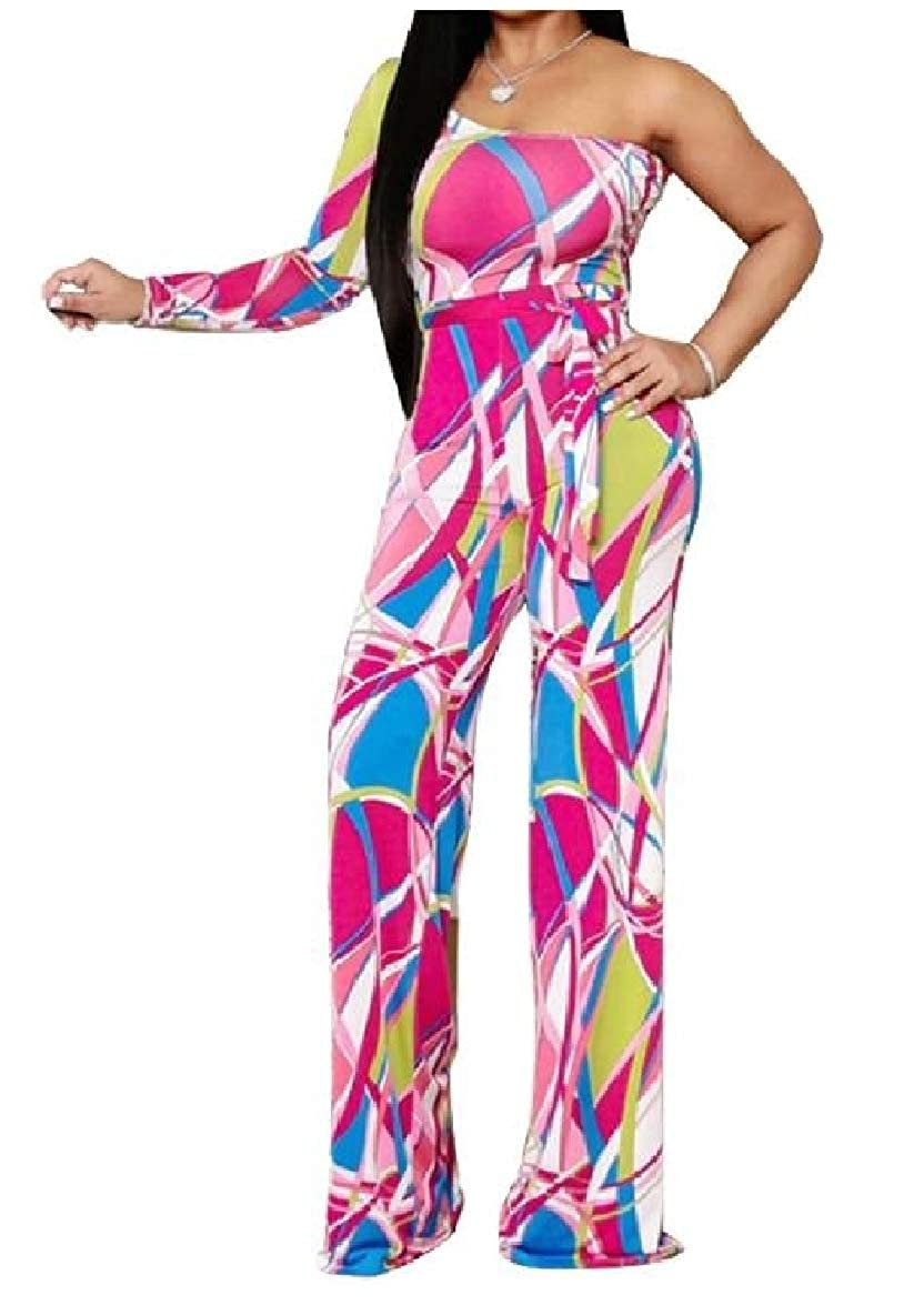 Tootless-Women Single Sleeve Off-Shoulder Printing Hi-Waist Jumpsuits