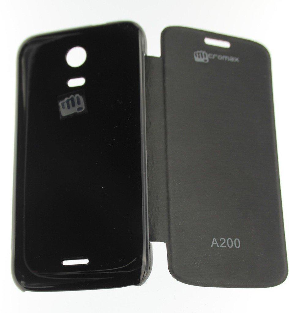 new product a87a1 cf625 Micromax Flip Cover for Micromax Canvas Turbo Mini A200 (Black)