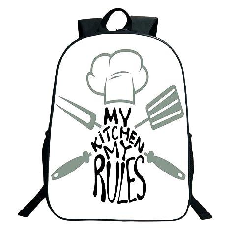 76527a46d87e Amazon.com: 3D Print Design Black School Bag,backpacksKitchen Decor ...