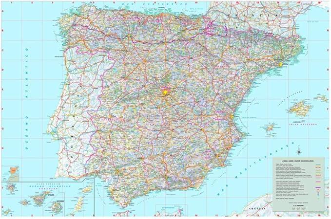 QYH Color Brillante Mapa detallado Grande de España con Ciudades National Geographic Exquisito diseño Cartel Impresión de la Lona Arte de la Pared Etiqueta (40X60Cm Sin Marco): Amazon.es: Hogar