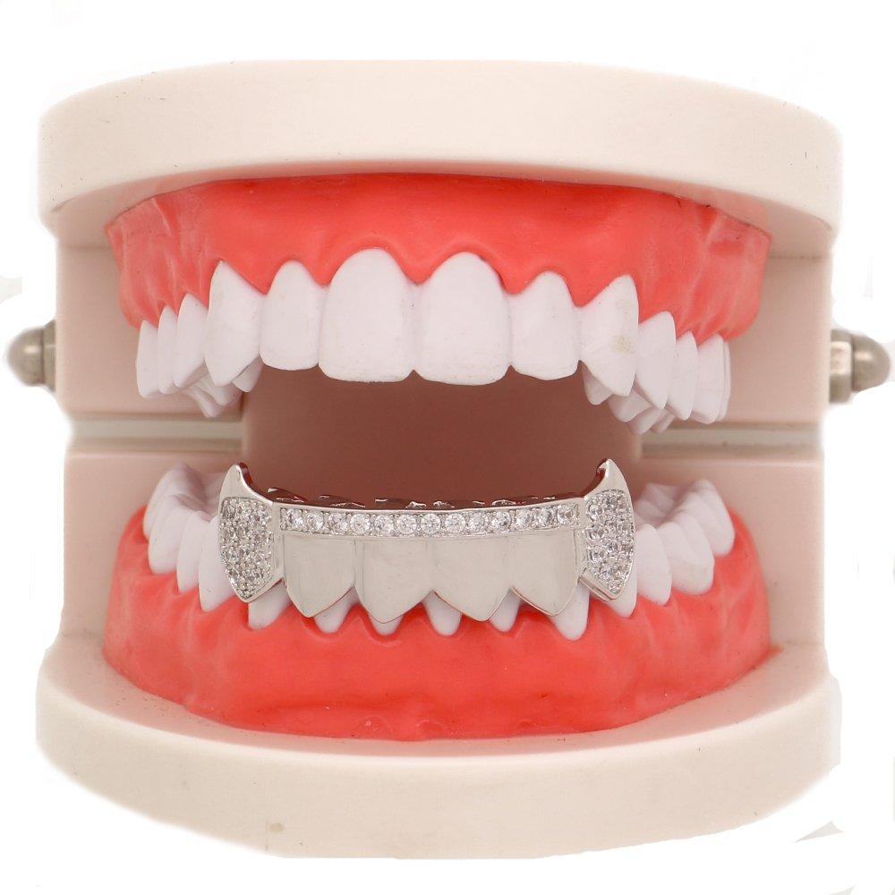 LuReen Gold Teeth Grillz Diamond Pave CZ 6 Top Bottom Grills for Men Women + Extra Molding Bars 51EHjxC4nXL