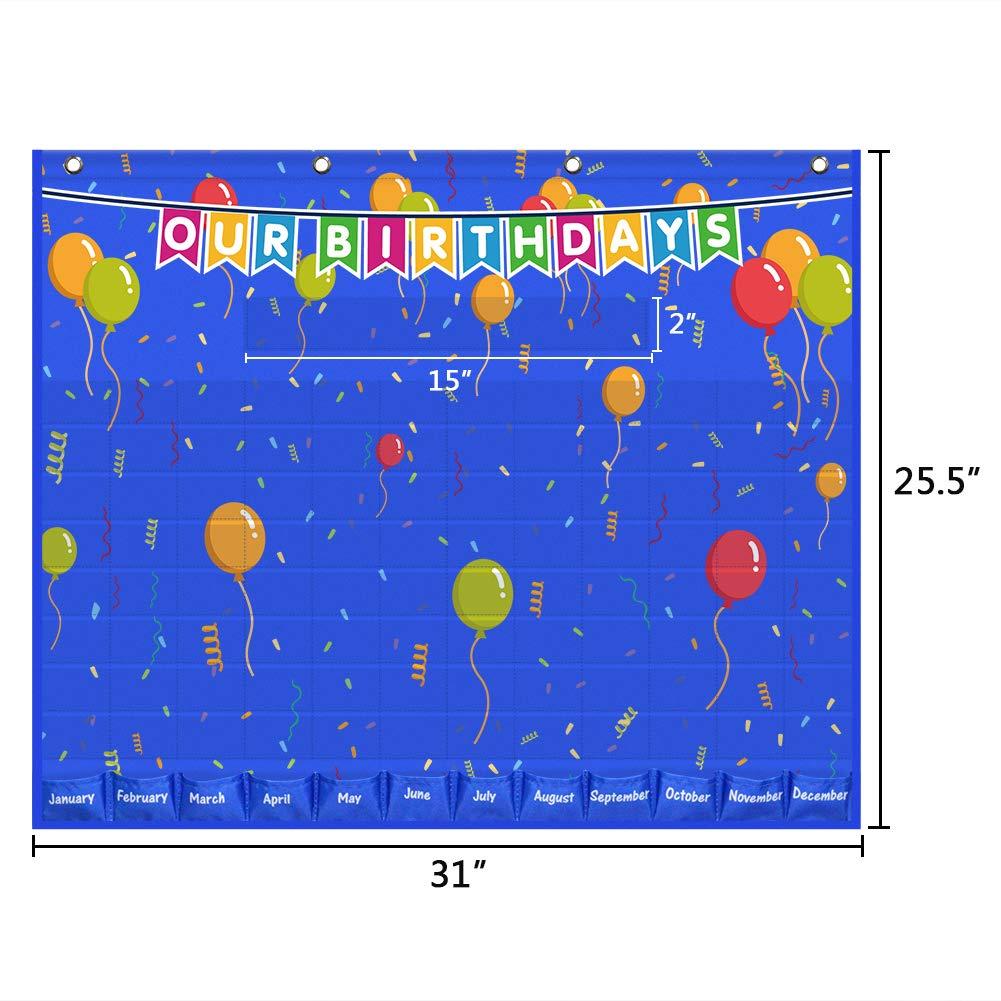 Blue Birthday Graph Bulletin Board for Classroom Eamay Happy Birthday Pocket Chart