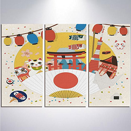 3 Pieces Modern Painting Canvas Prints Wall Art For Home Decoration Lantern Print On Canvas Giclee Artwork For Wall DecorJapanese Inspired Commercial Pattern Various Asian Culture Items Cool Cat (Cool Cat Giclee Pattern)