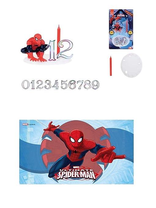 Decoración para tartas Spiderman 14 piezas con vela para ...