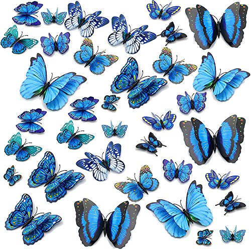Black Butterfly Craft - Topixdeals Wall Decal Butterfly, 36 PCS 3D Butterfly Stickers with Double Wings, Sponge Gum and Pins, Removable Wall Sticker Decals for Room Home Nursery Decor