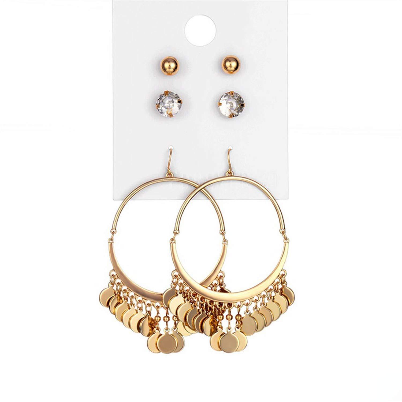 12 pair//set Women Square Crystal Heart Stud Earrings for Women Piercing Simulated Pearl Flower Earrings