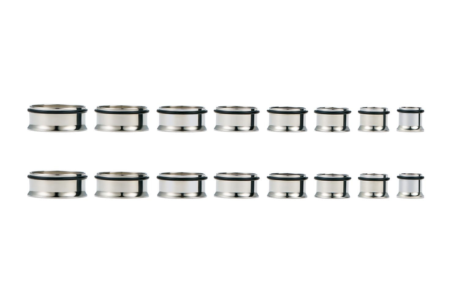 vcmart Gauges for Ear Stretching Tunnel Kit 316L Stainless Steel Flesh Tunnels Plugs Gauge Expanders 8PRS 2G-13/16 Silver