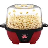 West Bend 82505 Stir Crazy Electric Hot Oil Popcorn Popper Machine with Stirring Rod Offers Large Lid for Serving Bowl and Convenient Storage, Household, Red