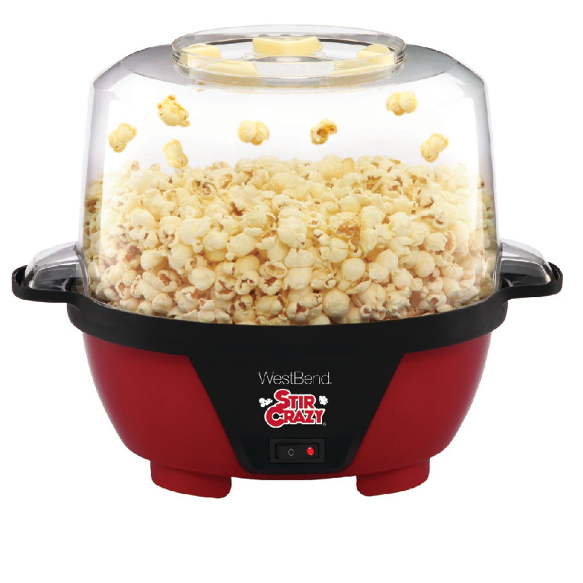 West Bend 82505 Stir Crazy Electric Hot Oil Popcorn Popper Machine with Stirring Rod Offers Large Lid for Serving Bowl and Convenient Storage, 6-Quarts, Red by West Bend (Image #1)