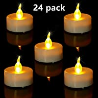 Tea Light. Flameless LED Tea Lights Candles (24 Pack), Flickering Warm Yellow. Battery-powered Tealight Candle. Ideal for Party, Wedding, Birthday, Gifts and Home Decoration
