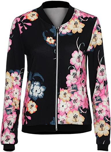 Fashion Women Coat Floral Printed Casual Short Jacket Long Sleeve Outwear Coats