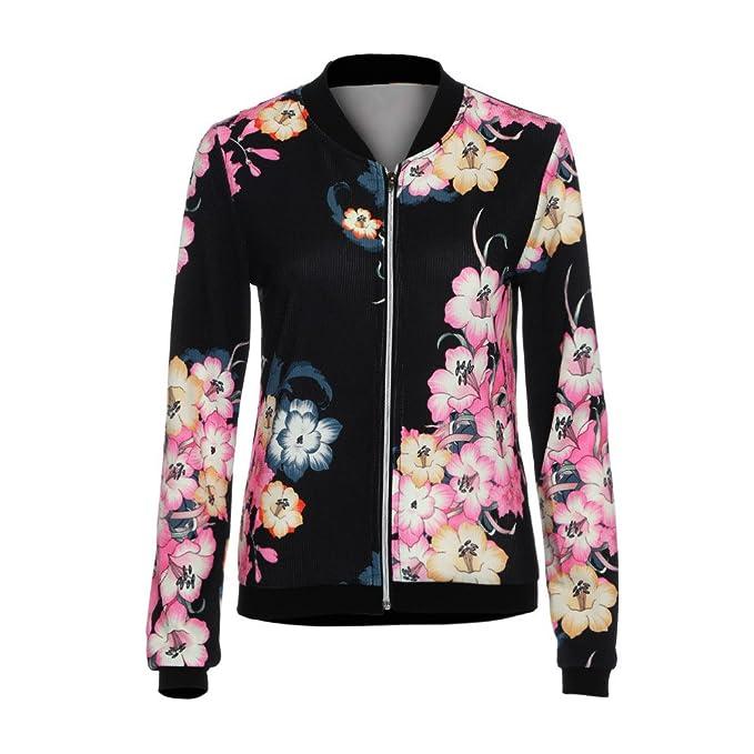 Damen Floral Jacke Frauen Mädchen Blouson Übergangsjacke mit Blumen Blüten  MYMYG Bikerjacke Fliegerjacke Kurzjacke Sportwear Blumendruck 1df1c2f503