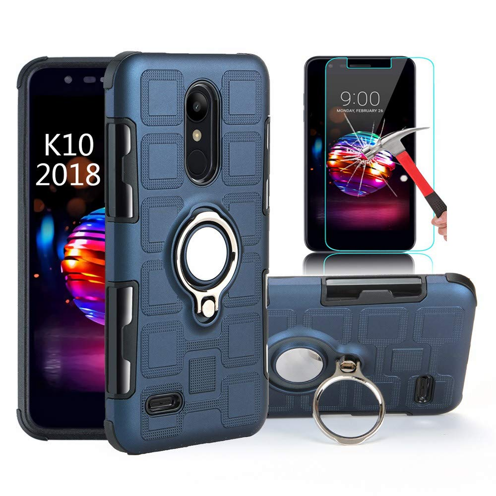 LG K10 2018 Case, LG Premier Pro Case, LG K30 Case With HD Screen Protector, EDSAM Dual Layer Shockproof Case with 360 Degree Rotating Ring Kickstand Fit Magnetic Car Mount for LG K10 2018 (Navy Blue)