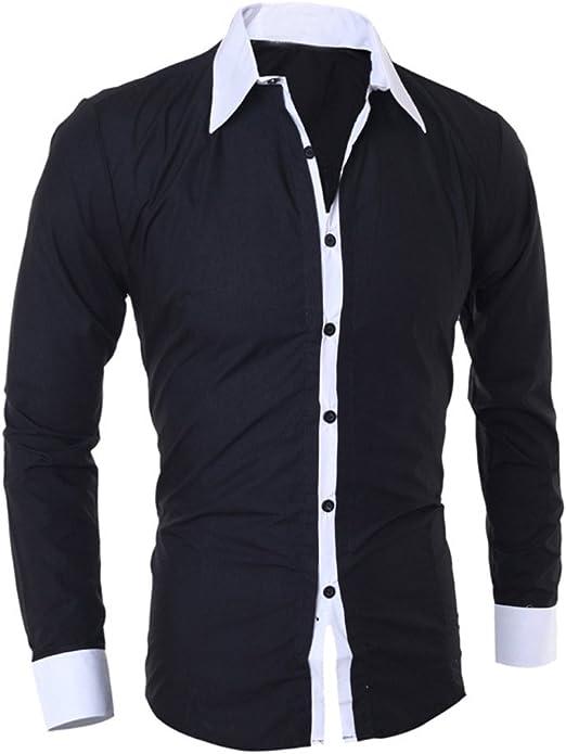 Trisee Camisa Manga Larga para Hombre, Camisa de Manga Larga Delgada de Color Sólido de Personalidad de Moda para Hombres: Amazon.es: Ropa y accesorios