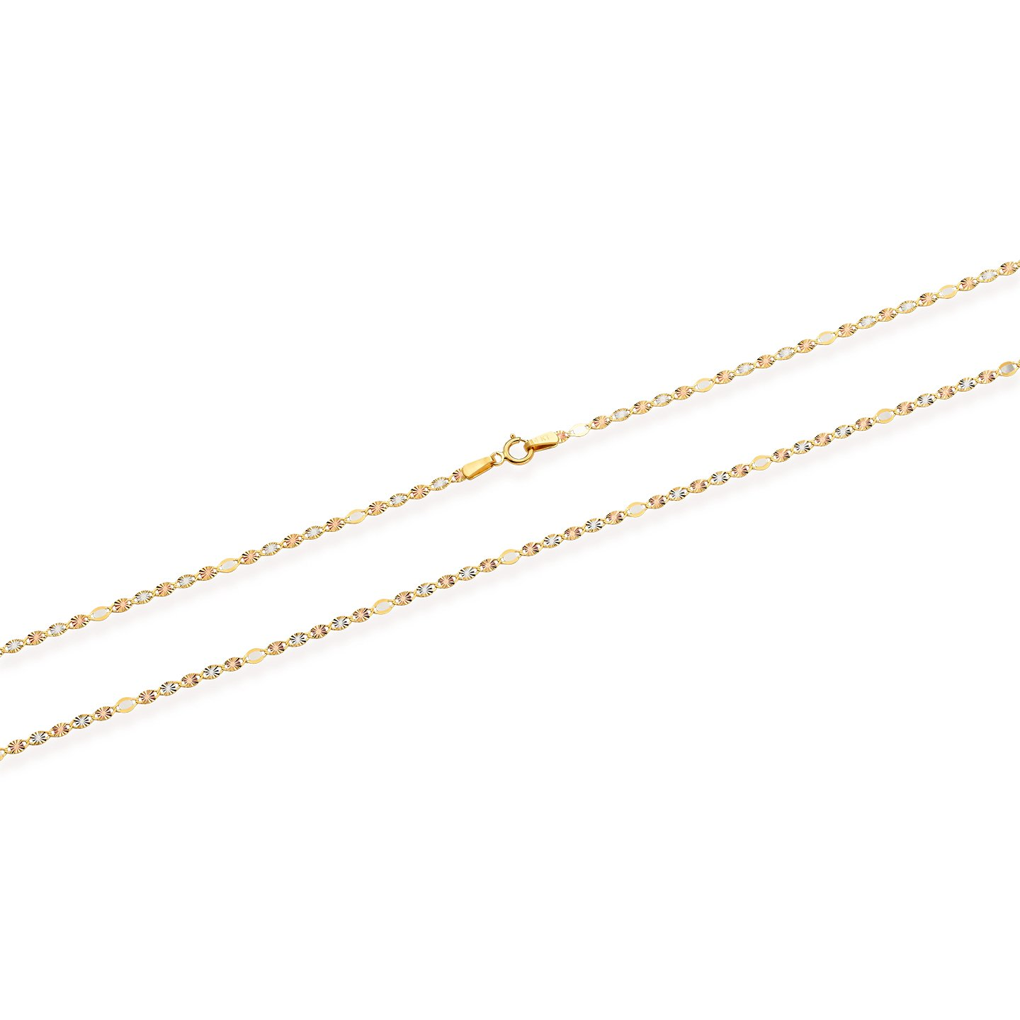 Fancy Tri- Color 14K Valentino Chain, Rose Gold, Yellow Gold, and White Gold (18) by Jewel Connection (Image #3)
