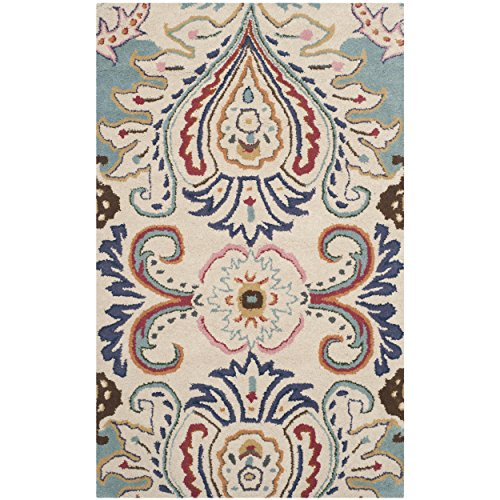 Safavieh Bella Collection BEL118A Handmade Ivory and Blue Premium Wool Area Rug (2' x (Wool Area Accent)