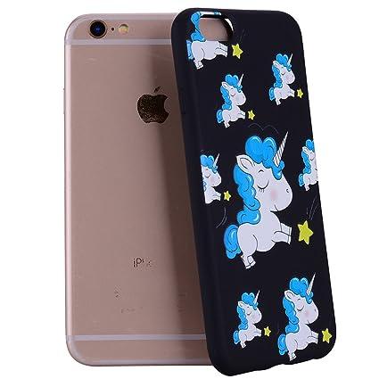 Yunbaozi Funda iPhone 6 Plus Embossing Case Carcasa Suave Impresión 3D Caucho TPU Flexible Cáscara Delgado Ligero Alivio Negro Carcasa iPhone 6 ...